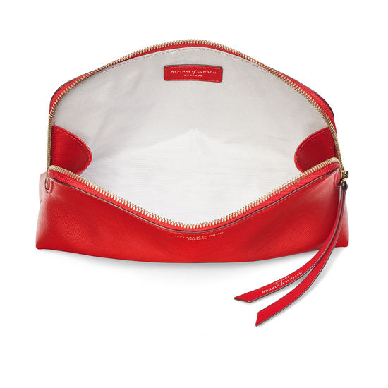 Large Essential Cosmetic Case in Scarlet Saffiano from Aspinal of London