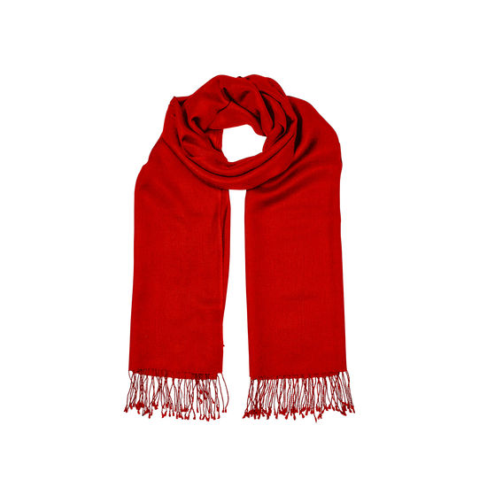 Essential Silk & Cashmere Pashmina in Scarlet from Aspinal of London