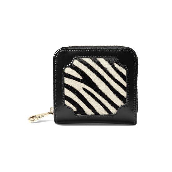 Marylebone Mini Purse in Zebra Haircalf & Black Polish from Aspinal of London