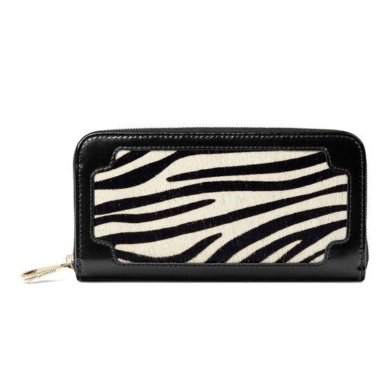 Marylebone Purse in Zebra Haircalf & Black Polish from Aspinal of London