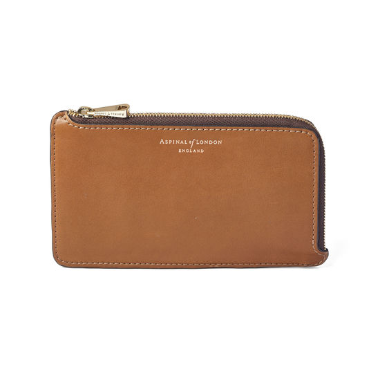 Large Zipped Coin Purse in Smooth Tan from Aspinal of London
