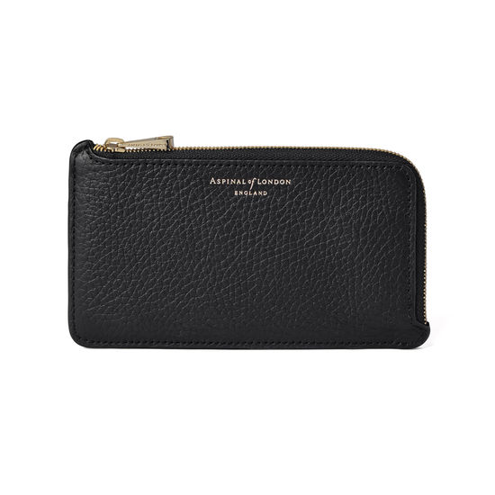Large Zipped Coin Purse in Black Pebble from Aspinal of London