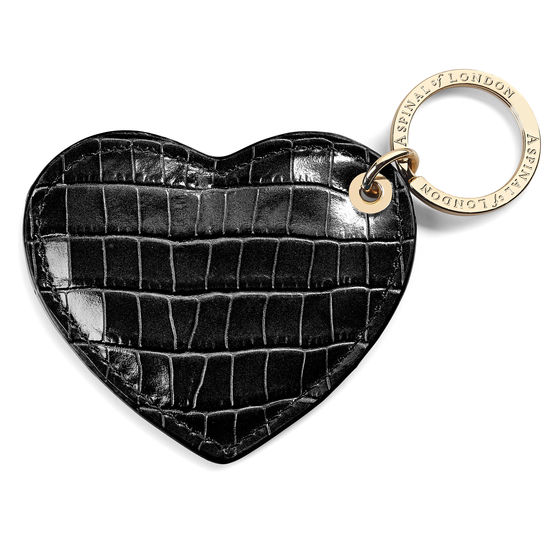 Heart Keyring in Deep Shine Black Small Croc from Aspinal of London