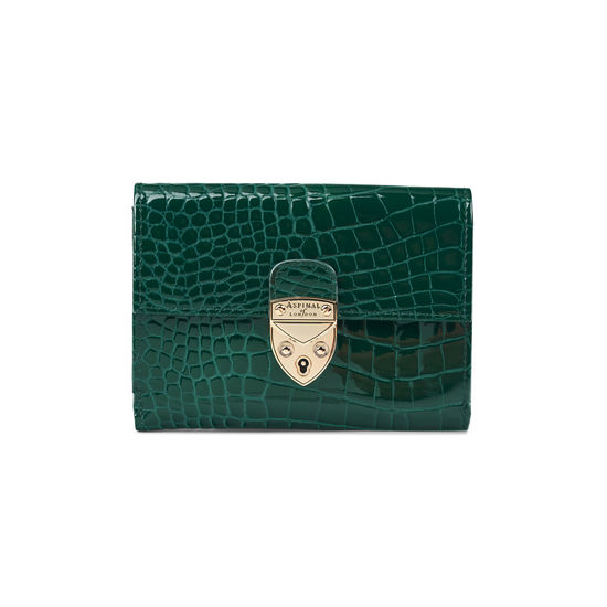 Small Mayfair Purse in Evergreen Patent Croc from Aspinal of London