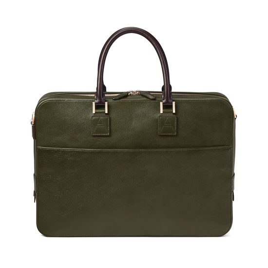 Small Mount Street Bag in Moss Green Pebble from Aspinal of London
