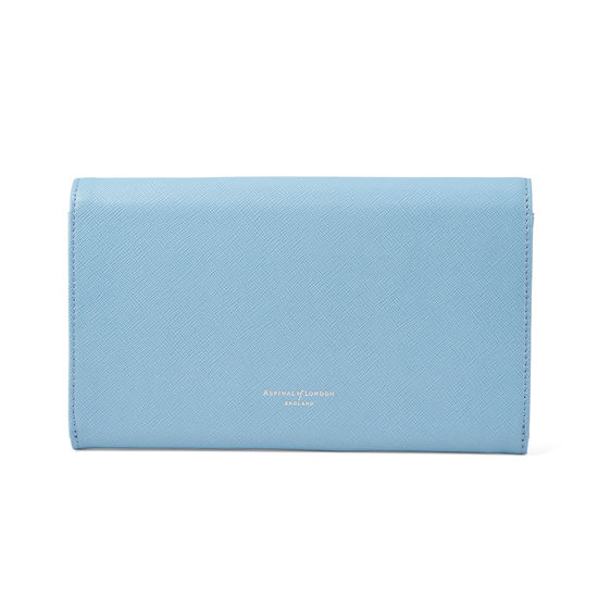 Classic Travel Wallet in Bluebird Saffiano from Aspinal of London