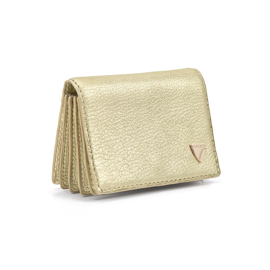 Accordion Zipped Credit Card Holder in Pale Gold Pebble from Aspinal of London