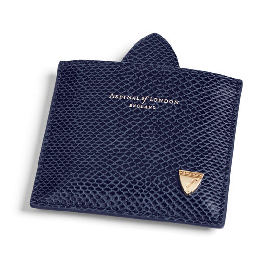 Compact Mirror in Midnight Blue Lizard from Aspinal of London
