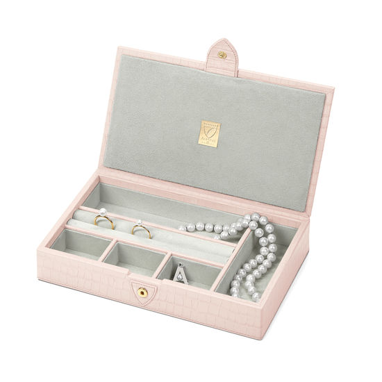 Paris Jewellery Box in Deep Shine Shell Pink Small Croc from Aspinal of London