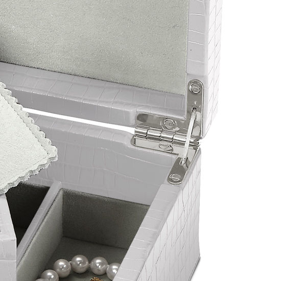 Savoy Jewellery Box in Deep Shine Dove Grey Small Croc from Aspinal of London