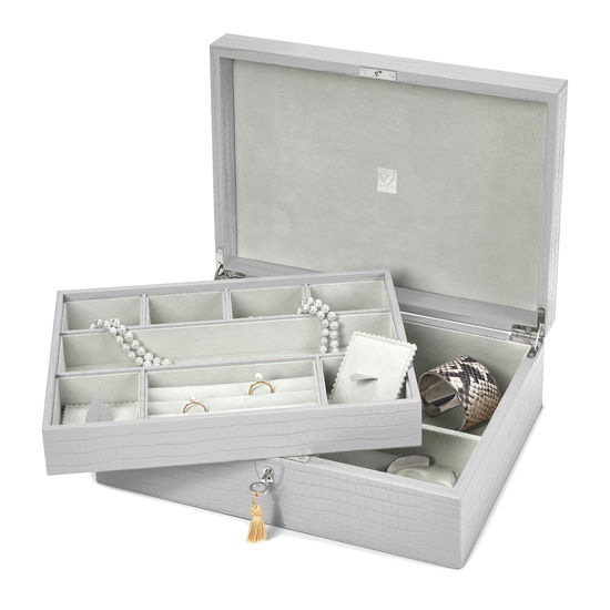 Grand Luxe Jewellery Case in Deep Shine Dove Grey Small Croc from Aspinal of London
