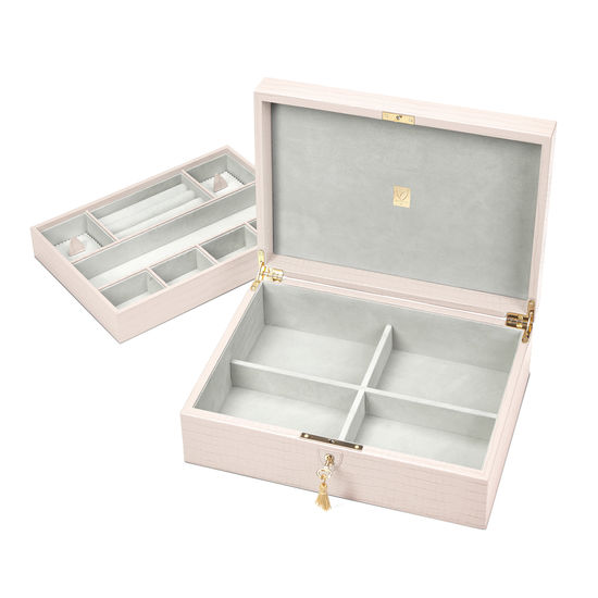 Grand Luxe Jewellery Case in Deep Shine Shell Pink Small Croc from Aspinal of London