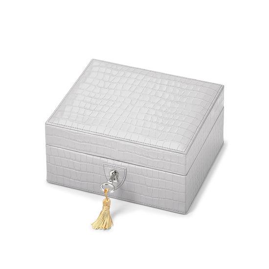 Bijou Jewellery Box in Deep Shine Dove Grey Small Croc from Aspinal of London
