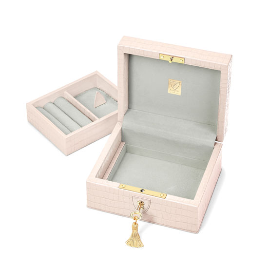 Bijou Jewellery Box in Deep Shine Shell Pink Small Croc from Aspinal of London