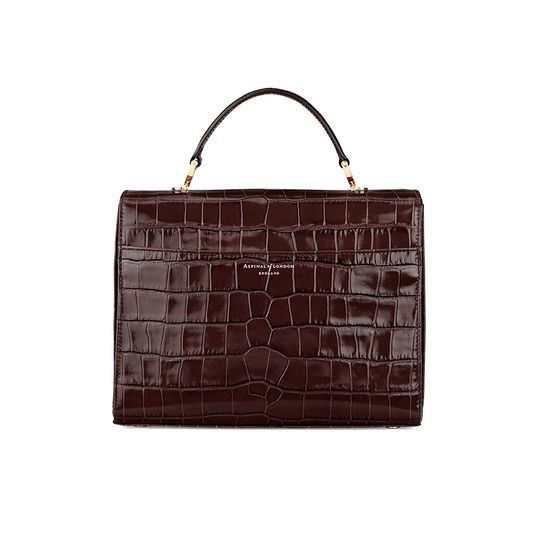 Mayfair Bag in Deep Shine Amazon Brown Croc from Aspinal of London