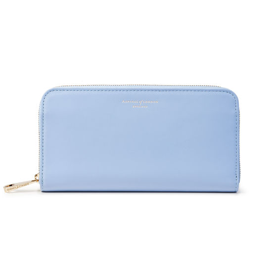 Continental Clutch Zip Wallet in Smooth Misty Blue from Aspinal of London