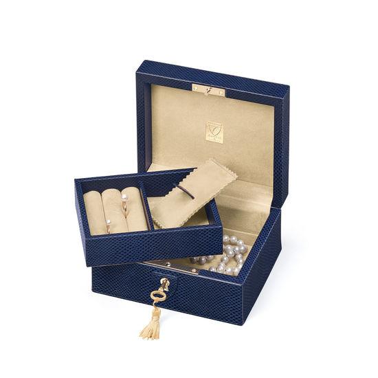 Bijou Jewellery Box in Midnight Blue Lizard from Aspinal of London