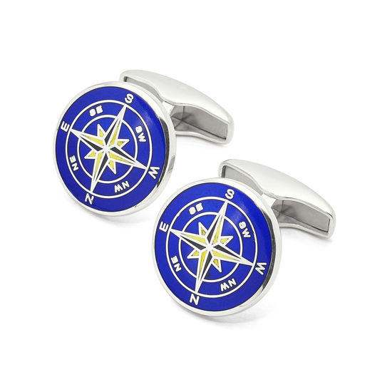 Sterling Silver Enamel Compass Rose Cufflinks in Mid Blue from Aspinal of London