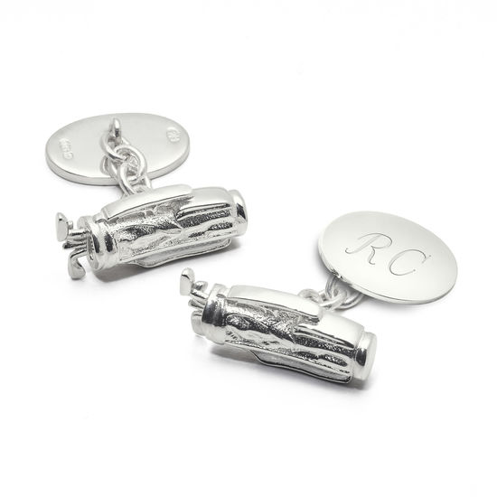 Sterling Silver Personalised Golf Bag Cufflinks from Aspinal of London