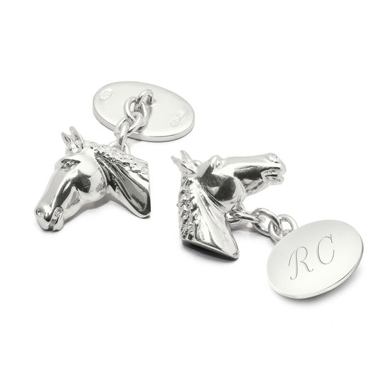 Sterling Silver Personalised Horse Head Cufflinks from Aspinal of London