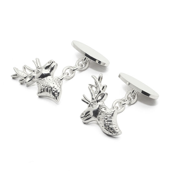 Sterling Silver Personalised Stag Head Cufflinks from Aspinal of London