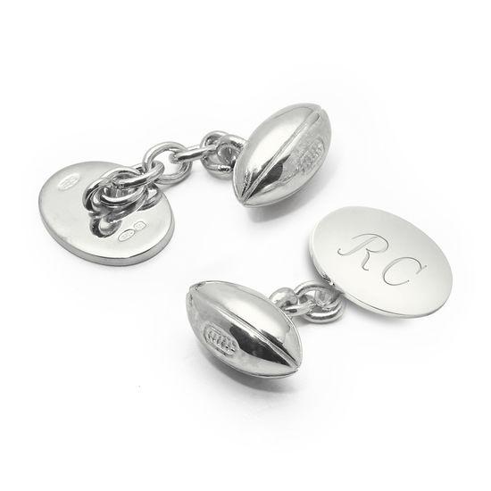 Sterling Silver Personalised Rugby Ball Cufflinks from Aspinal of London