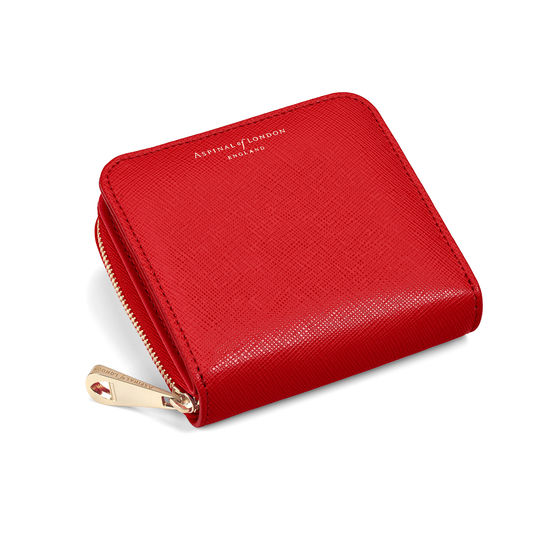 Mini Continental Zipped Coin Purse in Scarlet Saffiano from Aspinal of London