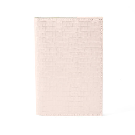 A5 Refillable Leather Journal in Deep Shine Shell Pink Small Croc from Aspinal of London