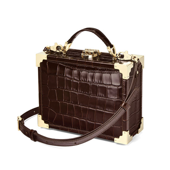 Mini Trunk Clutch in Deep Shine Amazon Brown Croc from Aspinal of London
