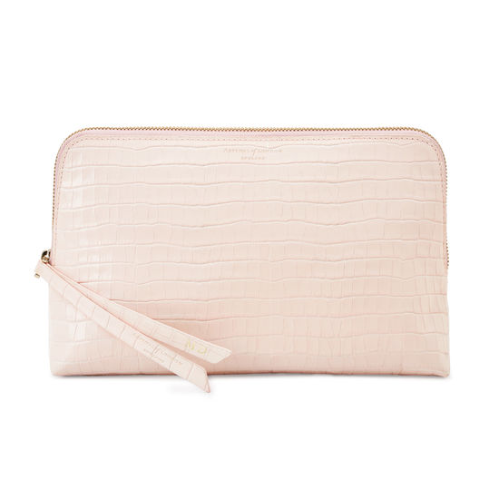 Large Essential Cosmetic Case in Deep Shine Shell Pink Small Croc from Aspinal of London