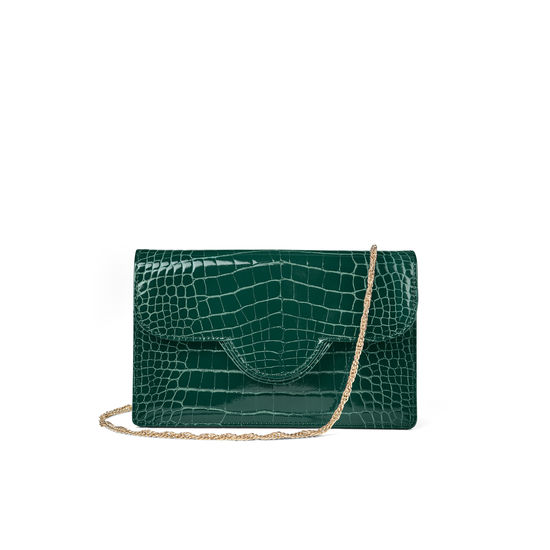 Ava Bag in Evergreen Patent Croc from Aspinal of London