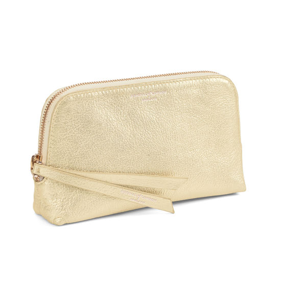 Small Essential Cosmetic Case in Pale Gold Pebble from Aspinal of London