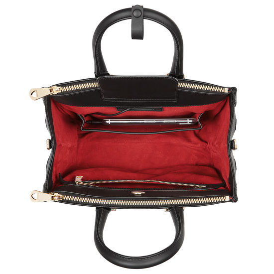 Midi Madison Tote in Black Saffiano from Aspinal of London