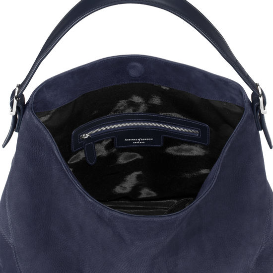 Aspinal Hobo Bag in Navy Nubuck from Aspinal of London