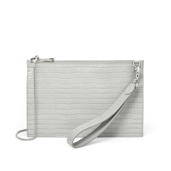 Soho Bag in Deep Shine Dove Grey Small Croc from Aspinal of London