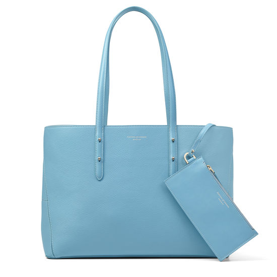Regent Tote in Bluebird Pebble (with A-Stitched Side Panels) from Aspinal of London