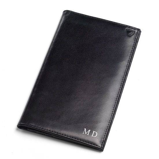 Large Breast Pocket Wallet in Smooth Black & Cobalt Suede from Aspinal of London