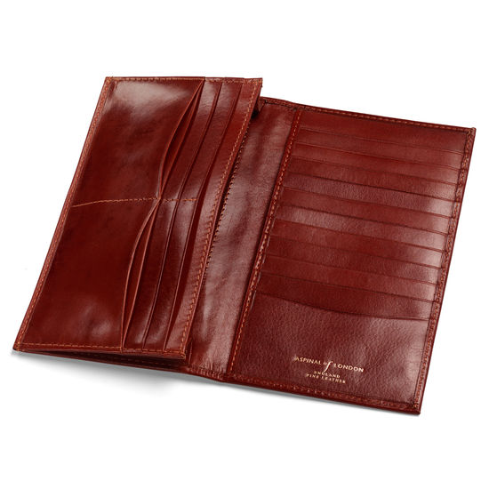 Large Breast Pocket Wallet in Smooth Cognac & Espresso Suede from Aspinal of London
