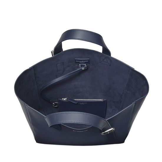 Editor's 'A' Tote in Navy Saffiano & Navy Suede from Aspinal of London
