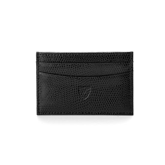 Slim Credit Card Case in Jet Black Lizard & Red Suede from Aspinal of London