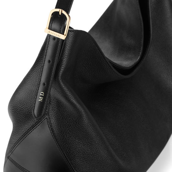 Aspinal Hobo Bag in Black Pebble & Smooth Black from Aspinal of London