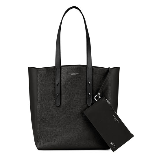Essential Tote in Black Pebble & Black Suede from Aspinal of London