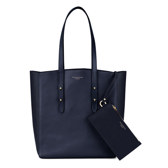 Essential Tote in Navy Pebble & Navy Suede from Aspinal of London