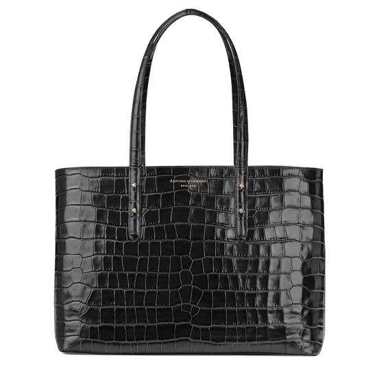 Regent Tote in Black Croc from Aspinal of London