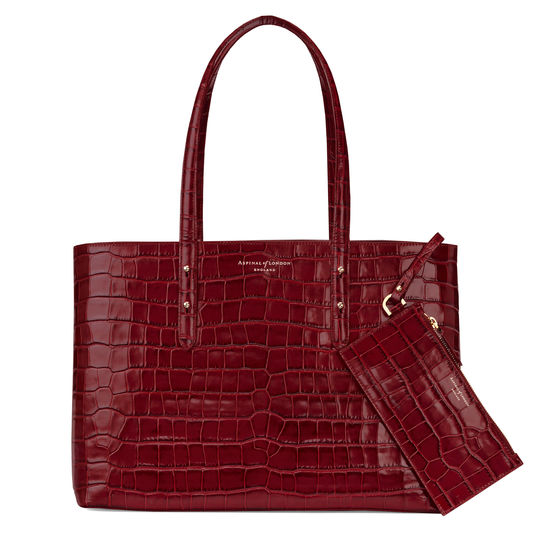 Regent Tote in Bordeaux Croc from Aspinal of London