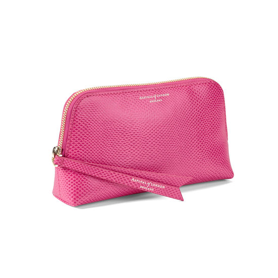 Small Essential Cosmetic Case in Raspberry Lizard from Aspinal of London