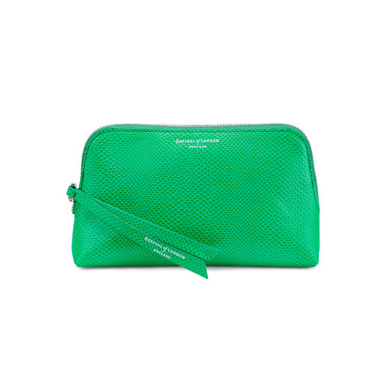 Small Essential Cosmetic Case in Grass Green Lizard from Aspinal of London