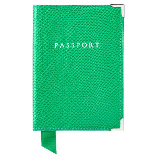 Passport Cover in Grass Green Lizard & Cream Suede from Aspinal of London