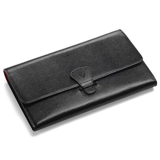 Classic Travel Wallet in Jet Black Lizard & Red Suede from Aspinal of London
