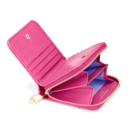 Mini Continental Zipped Coin Purse in Raspberry Lizard from Aspinal of London